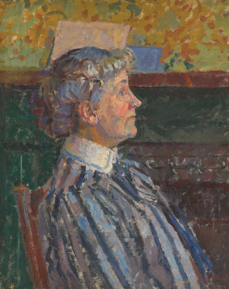 Harold Gilman, Portrait of Irene Battiscombe the Artist's Sister (The Striped Blouse), c.1915