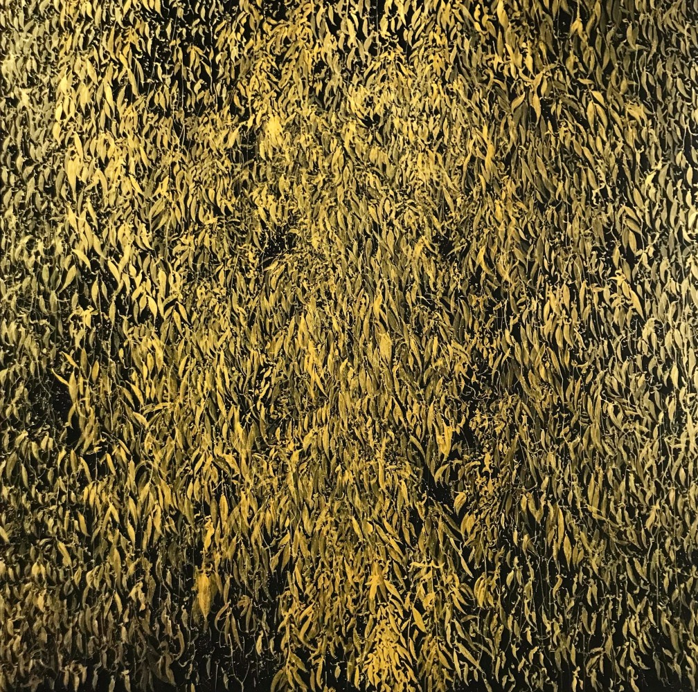 "<div class=""title""><em>Dancin' in the light</em>, 2019</div> <div class=""medium"">gold ink and gesso on aluminium panel</div> <div class=""dimensions"">200 x 200 cms</div>"
