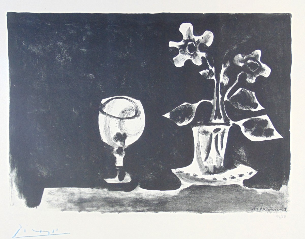 Pablo Picasso, Still Life with Glass and Flowers | Nature Morte au ...