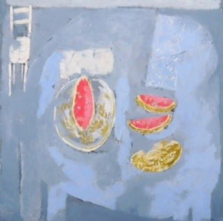 <span class=&#34;link fancybox-details-link&#34;><a href=&#34;/exhibitions/16/works/image_standalone323/&#34;>View Detail Page</a></span><p>Christie Bird,&#160;<em>Blue Table with Melon</em>, &#163;725</p>