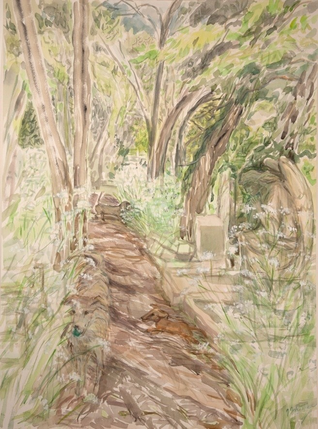 <span class=&#34;link fancybox-details-link&#34;><a href=&#34;/exhibitions/16/works/image_standalone419/&#34;>View Detail Page</a></span><p>Janet Johnson, <em>Dog Encounter on Secluded Path in Nunhead Cemetery May</em>, &#163;1150</p>