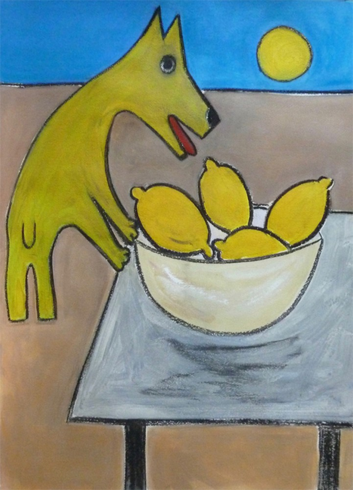 <span class=&#34;link fancybox-details-link&#34;><a href=&#34;/exhibitions/7/works/image_standalone176/&#34;>View Detail Page</a></span><p>Melanie Linfield, <em>Dog with Lemons</em></p>