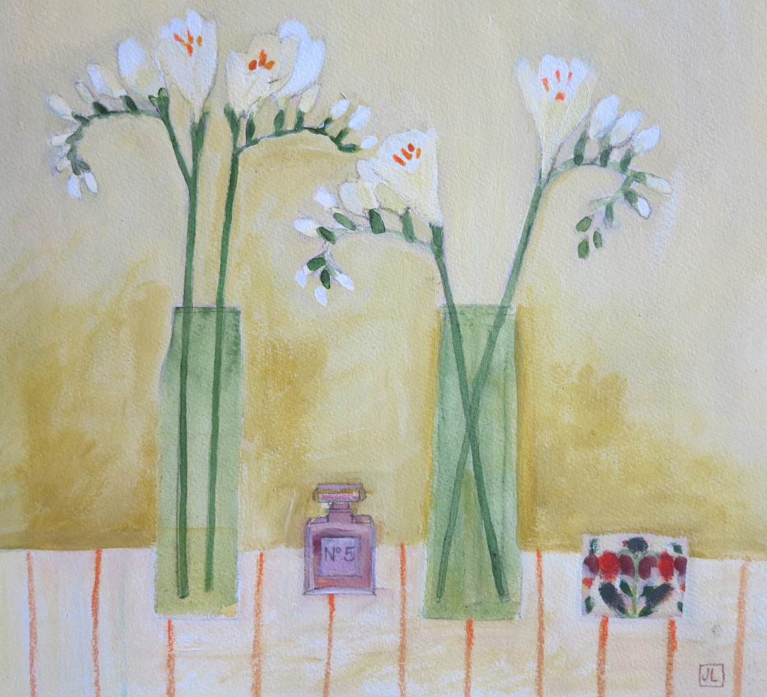<span class=&#34;link fancybox-details-link&#34;><a href=&#34;/exhibitions/12/works/artworks_standalone9704/&#34;>View Detail Page</a></span><div class=&#34;artist&#34;><span class=&#34;artist&#34;><strong>Jill Leman VPRWS</strong></span></div><div class=&#34;title&#34;><em>Freesias and Tiny Chanel No.5 Bottle</em></div>