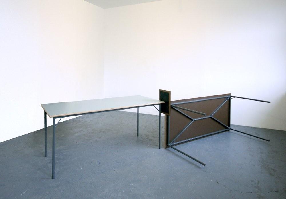 <span class=&#34;link fancybox-details-link&#34;><a href=&#34;/exhibitions/28/works/artworks3966/&#34;>View Detail Page</a></span><div class=&#34;artist&#34;><strong>Richard Rigg</strong></div><div class=&#34;title&#34;><em>The Gate Black</em>, 2009</div><div class=&#34;medium&#34;>Tables, wax tablet, broken arrow</div><div class=&#34;dimensions&#34;>863.6 x 193 x 386.1 cm<br>340 x 76 x 152 1/8 in</div>