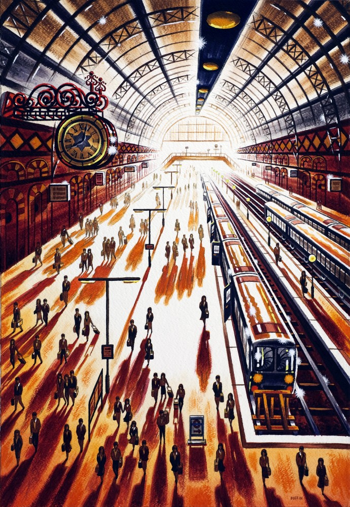 <span class=&#34;link fancybox-details-link&#34;><a href=&#34;/exhibitions/7/works/image_standalone184/&#34;>View Detail Page</a></span><p>John Duffin,&#160;<em>Another Arrival - King's Cross St Pancras Station</em>&#160;&#160;</p>