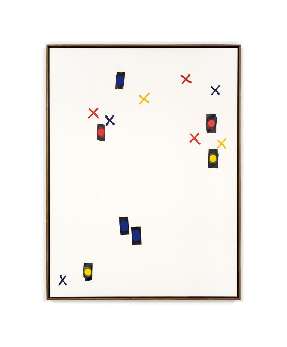 Ryan Gander Key performance indicator xv (Habitual Abstraction), 2017 Acrylic on canvas, vinyl dots, walnut frame 184 x 134 x 5 cm (72 1/2 x 52 3/4 x 2 in) 瑞安·甘德 《关键绩效指标之十五(惯性抽象)》, 2017 布上丙烯、点状胶贴、核桃木框 184 x 134 x 5 cm