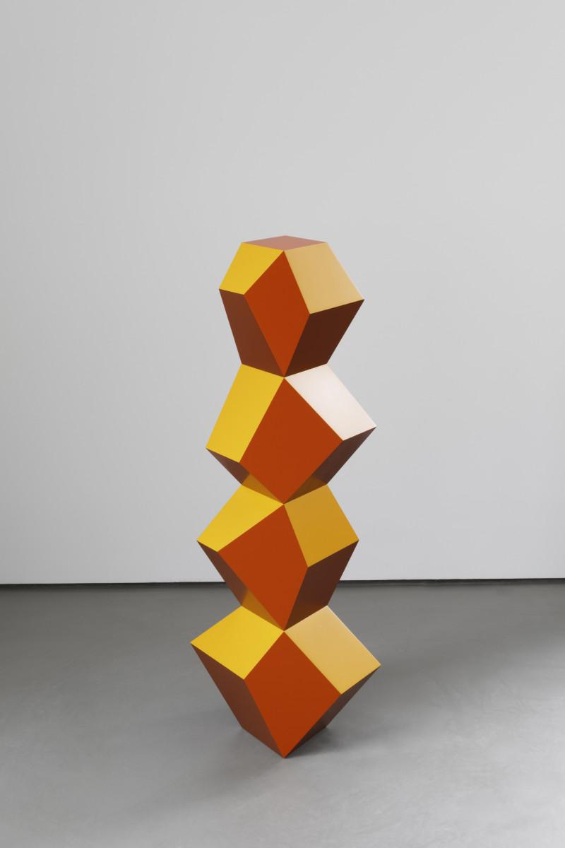Angela Bulloch Four Form Stack: Golden Copper, 2019 MDF, paint Approx. 120 x 50 x 30 cm 安吉拉·布洛克 《五形堆栈:闪铜》,2019年 绘面中密度纤维板 整体尺寸大约150 x 50 x 30 cm
