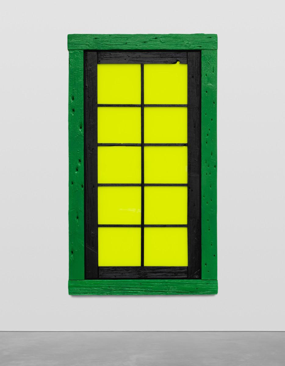 Ugo Rondinone the nil, 2019 Acrylic on wood, glass 200 x 113 x 5 cm (78 3/4 x 44 1/2 x 2 in)