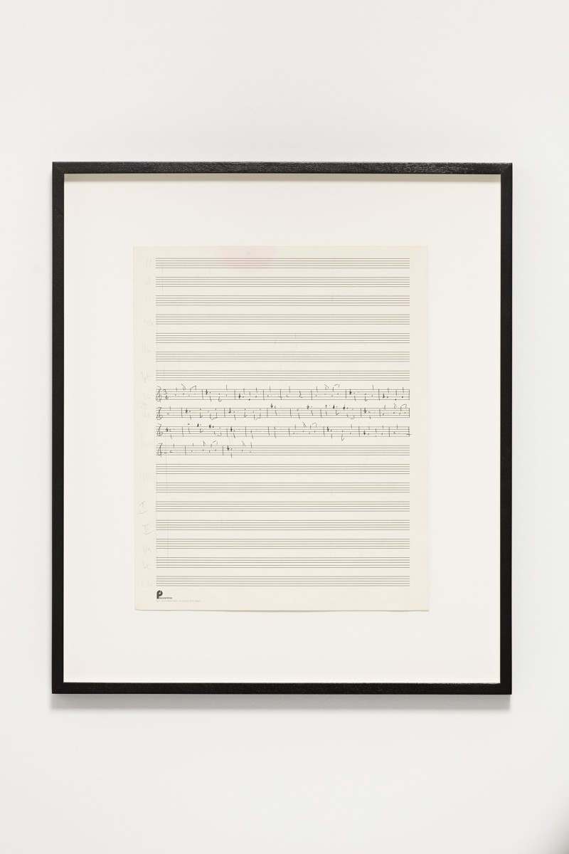 Ari Benjamin Meyers Passontino, 2015 Handwritten score on found paper 33 x 26,6 cm (motif) 48 x 41,5 x 2,8 cm (framed)