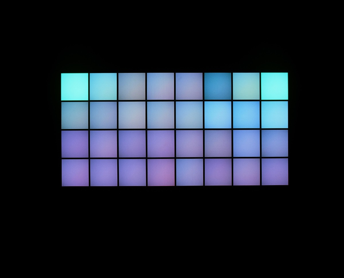 Angela Bulloch Horizontal Technicolour, 2002 32 waxed birchwood DMX modules (Pixel Boxes), aluminium plate, white glass, diffusion foil, cables, RGB-lighting system, DMX controller, sound system Duration 13:00 min soundtrack (looped) 200 x 400 x 55 cm (overall)