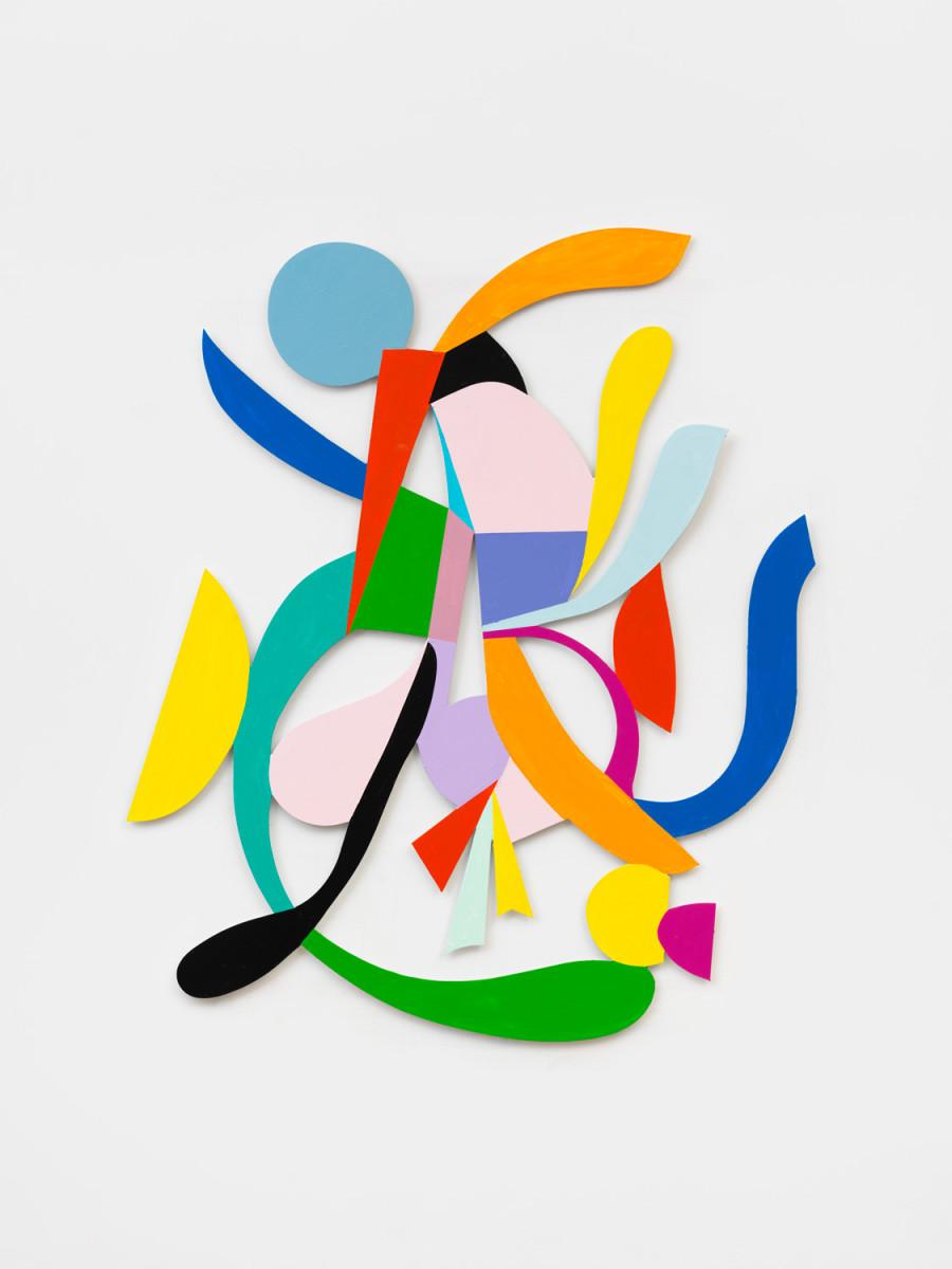 Nathan Carter Fascinator Darlene Delinquent, 2017 Aluminum, latex enamel paint 143,5 x 109,2 x 2,5 cm 内森·卡特 《坏蛋达琳羽毛帽》(2017) 铝、乳胶漆画 143.5 x 109.2 x 2.5厘米