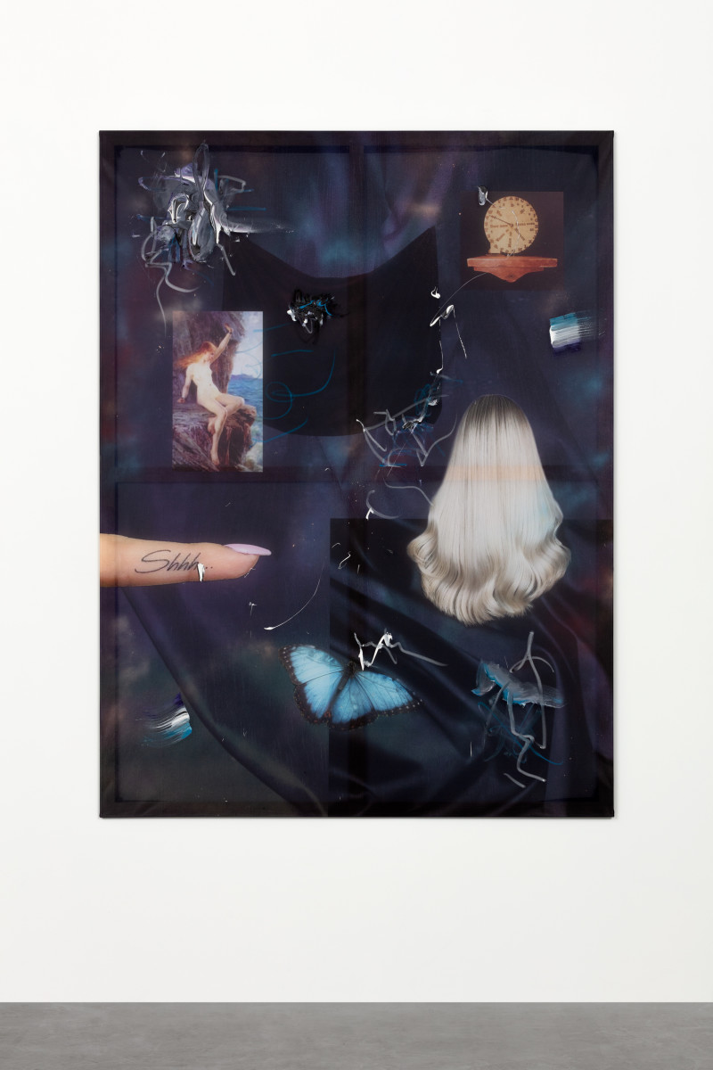 Cordula Ditz Glittering jewels that you never had, 2019 Spray paint, oil stick and acrylic on printed flag fabric 200 x 150 cm (78 3/4 x 59 1/8 in) Signed and dated verso
