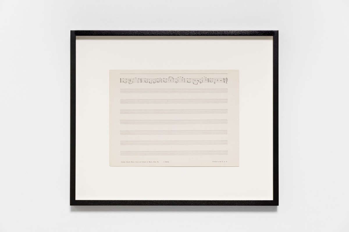 Ari Benjamin Meyers Stanley Osiecki, 2015 Handwritten score on found paper 19 x 25,3 (motif) 34 x 40,3 x 2,8 cm (framed)