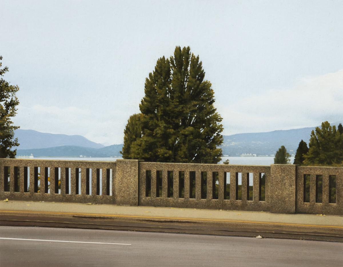 Andrew Grassie Bridge 1, 2020 Tempera on paper on board 14,8 x 18,8 cm (5 1/2 x 7 1/8 in) (image) 31,1 x 35,2 x 3 cm (12 1/4 x 13 3/4 x 1 1/8 in) (framed)