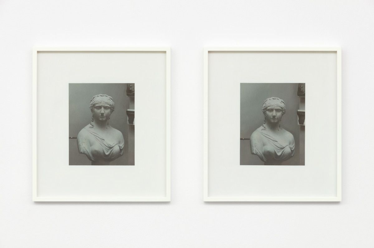 Andrew Grassie Sculpture 1, Sculpture 2, 2019 Tempera on paper on board 18,8 x 14,8 cm (7 1/8 x 5 1/2 in) (image) each, 2 parts 35,2 x 31,1 x 3 cm (13 3/4 x 12 1/4 x 1 1/8 in) (framed) each, 2 parts