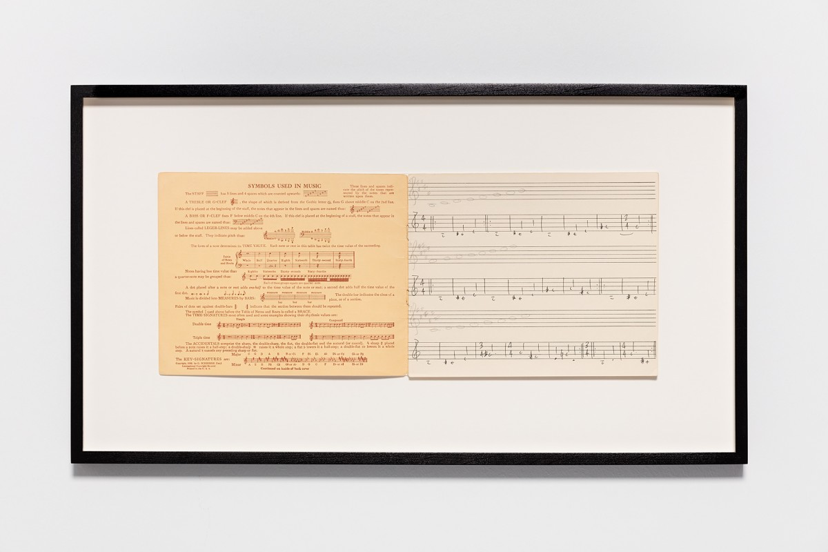 Ari Benjamin Meyers Symbols used in music, 2015 Handwritten score on found paper 17,5 x 43 cm (motif) 32,5 x 58 x 2,8 cm (framed)