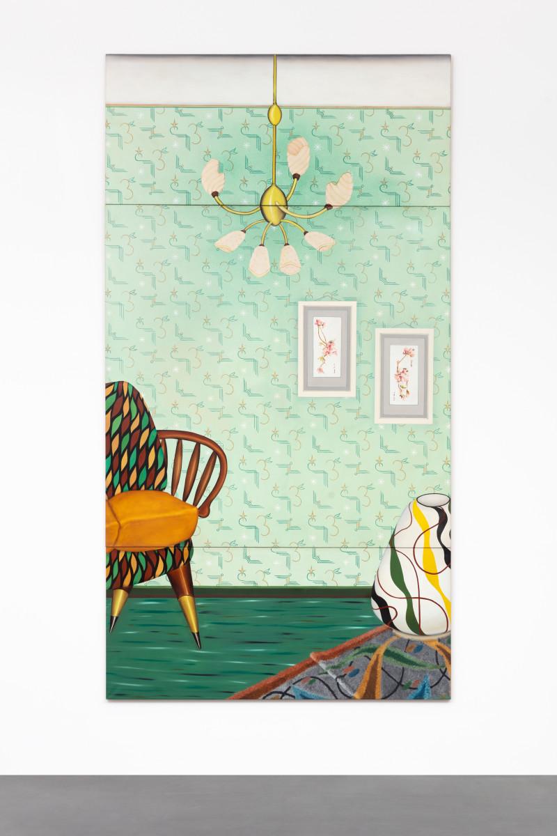 Almut Heise Großes Wohnzimmer, 1968 Oil on canvas 334 x 178 x 2,5 cm (131 1/2 x 70 1/8 x 3/4 in) 3 panels: 79,5 x 178,2 cm, 179,5 x 178,4 cm, 80 x 178 cm Signed and dated recto right lower corner Okt. 68 A.Heise