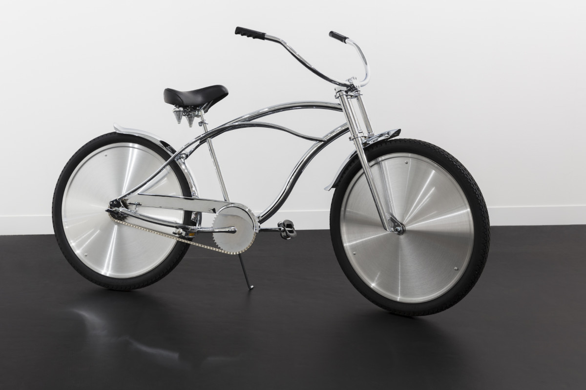 Ann Veronica Janssens Bike, 2001 Chrome coated bike with brushed aluminum wheel caps, helmet 160 x 170 x 51 cm (63 x 66 7/8 x 20 1/8 in) (approx.) Edition of 10