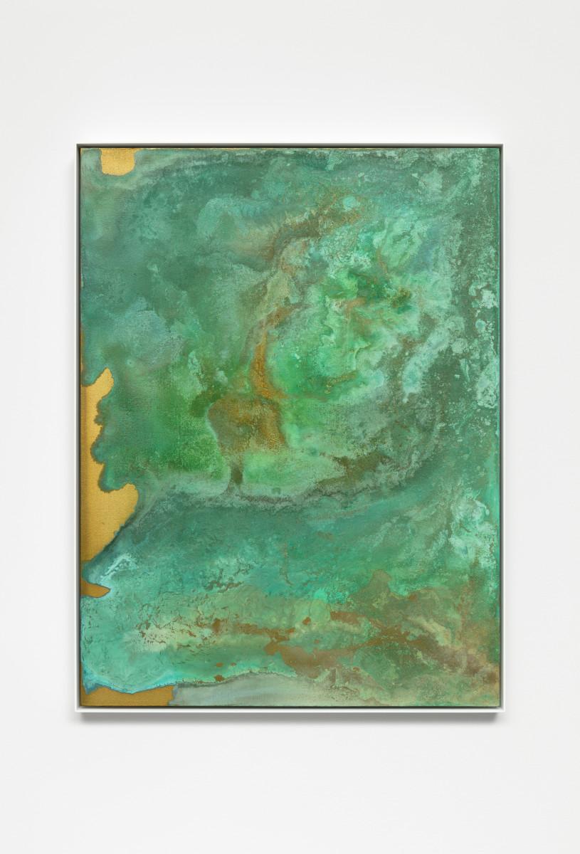 Etienne Chambaud Nameless, 2019 Grey fox, fallow deer and wolf urine, bronze powder, acrylic medium and acrylic varnish on canvas 80 x 60 x 5 cm (31 1/2 x 23 5/8 x 2 in)