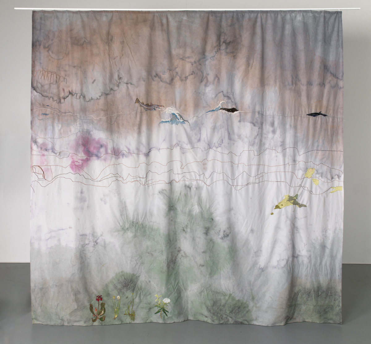 Isa Melsheimer Curtain (The Year Of the Whale), 2018 Fabric, thread 290 x 300 cm