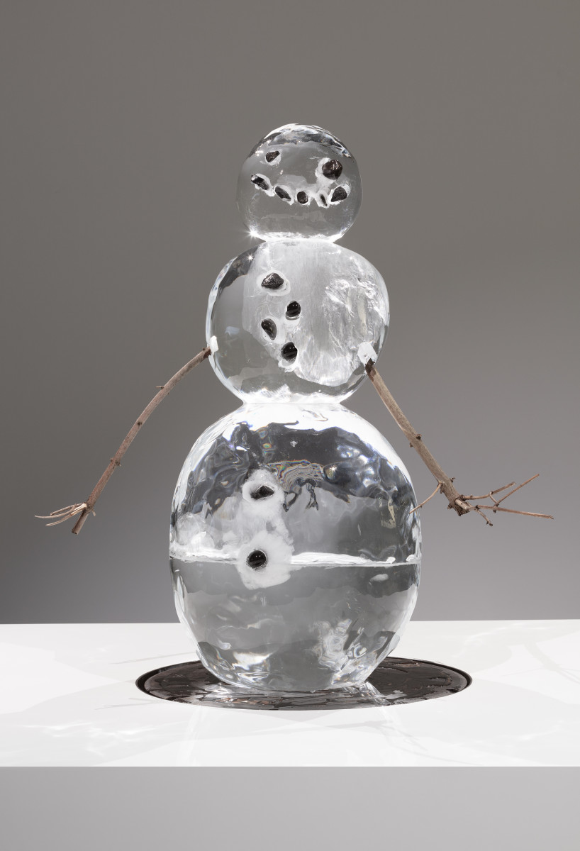Philippe Parreno Iceman in Reality Park, 1995–2019 Sculpted ice, stones, wooden sticks, wooden plinth with found Japanese metal manhole cover, sound installation Dimensions variable Height: 115 cm (45 1/4 in) approx. 44 x 160 x 160 cm (17 3/8 x 63 x 63 in) (plinth) Edition of 5 unique variations