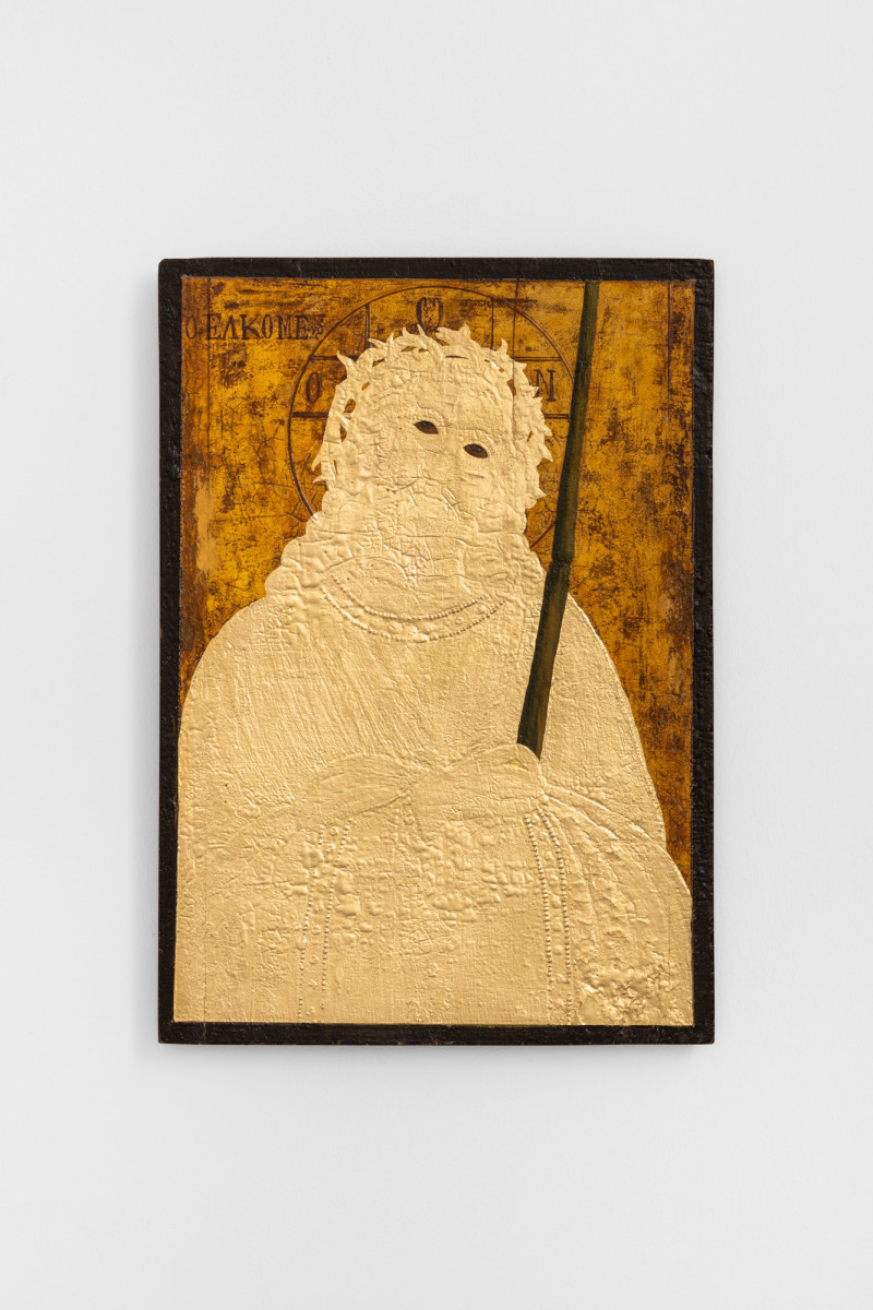 Etienne Chambaud Uncreature, 2021 Oil and gold leaf on wood panel 41,5 x 29,7 x 4 cm (16 3/8 x 11 3/4 x 1 1/2 in)