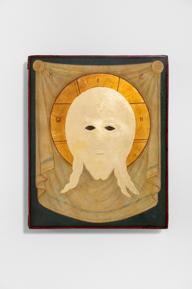 Etienne Chambaud Uncreature, 2021 Oil and gold leaf on wood panel 31 x 25,5 x 5,5 cm (12 1/4 x 10 1/8 x 2 1/8 in)