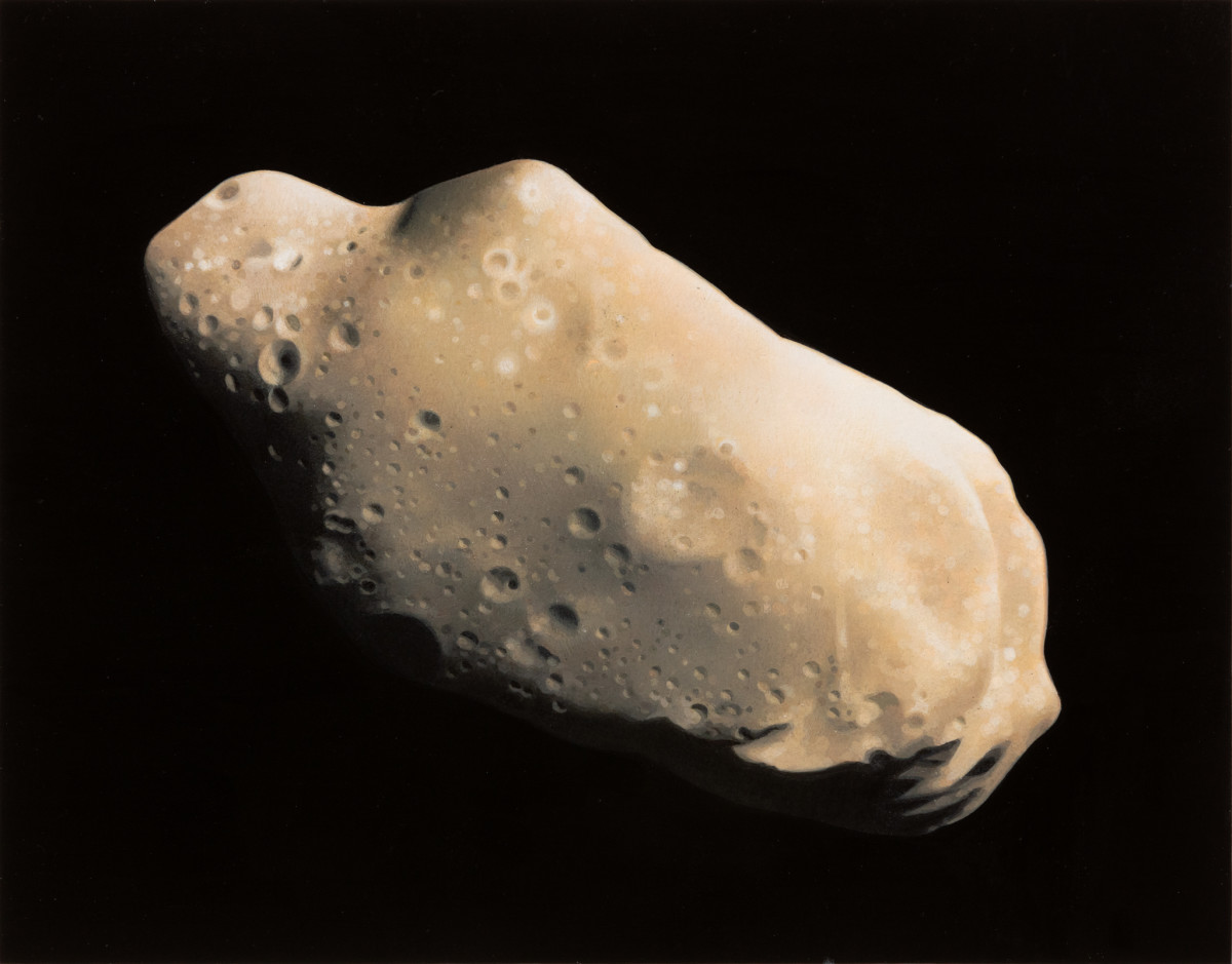 Andrew Grassie Asteroid, 2020 Tempera on paper on board 14,8 x 18,8 cm (5 1/2 x 7 1/8 in) (image) 31,1 x 35,2 x 3 cm (12 1/4 x 13 3/4 x 1 1/8 in) (framed)