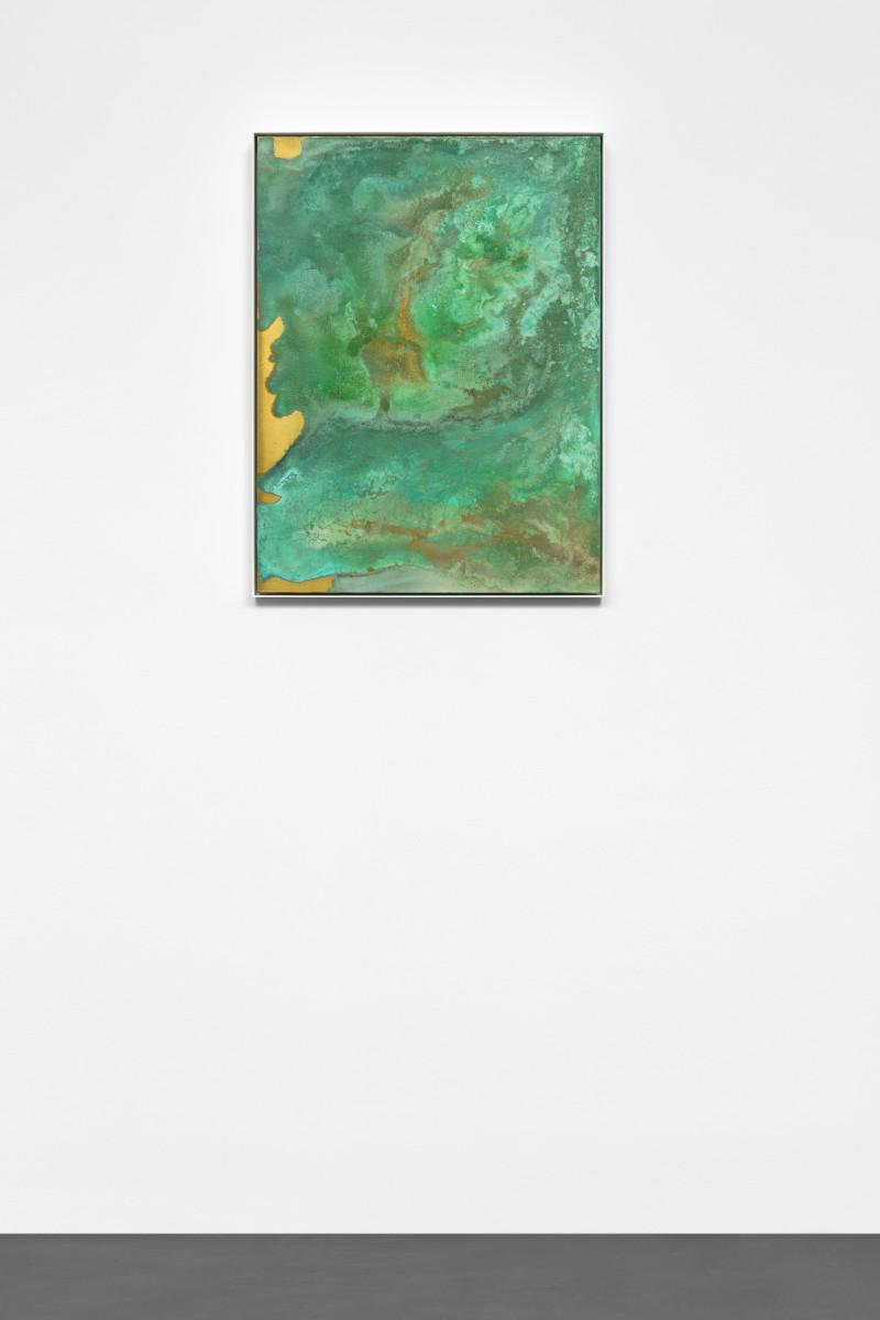 Etienne Chambaud Nameless, 2015 Grey fox, fallow deer and wolf urine, bronze powder, acrylic medium and acrylic varnish on canvas 80 x 60 x 5 cm (31 1/2 x 23 5/8 x 2 in)
