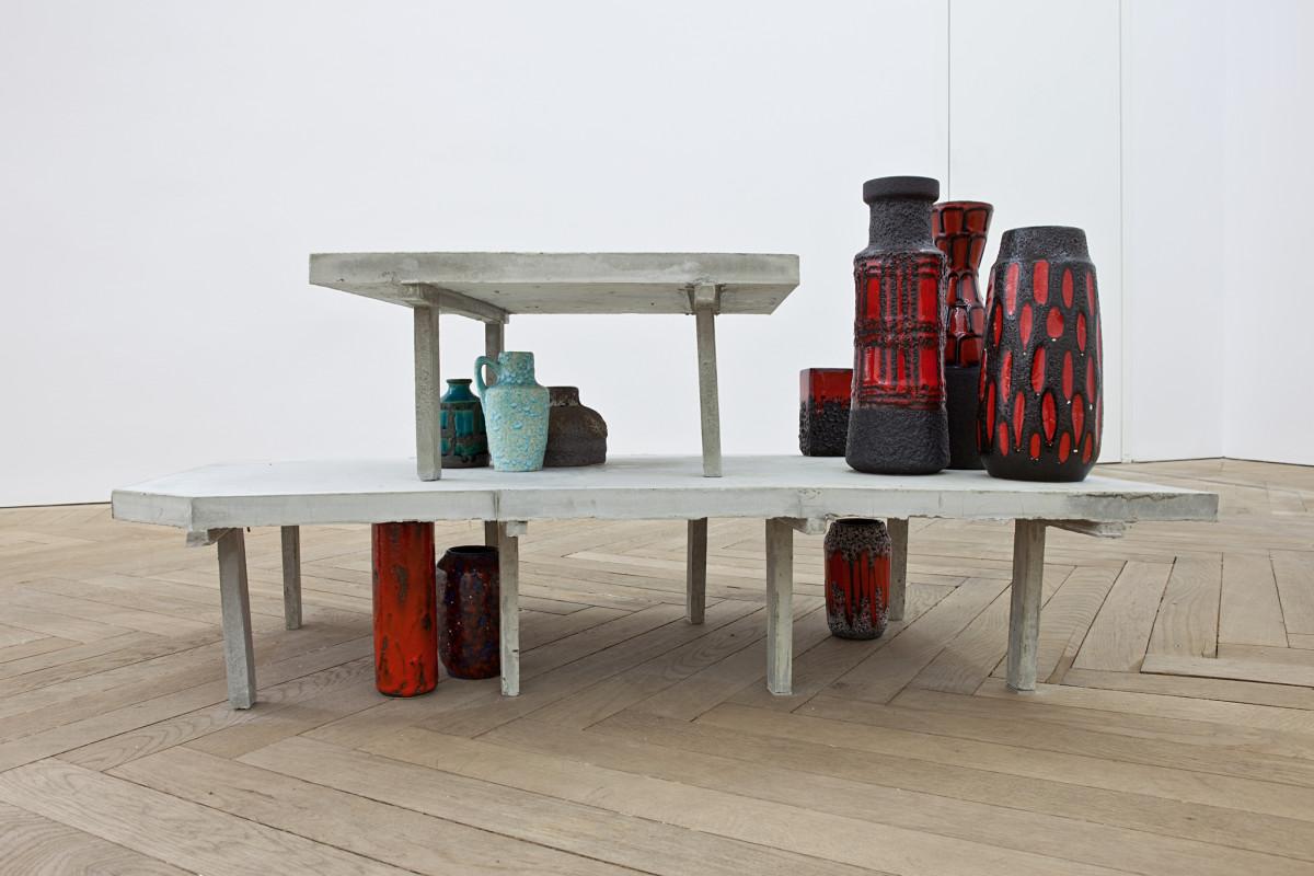 Isa Melsheimer Frei Otto / westliches Haus, 2012 Fibrous grit, concrete, vases 75 x 60 x 105 cm