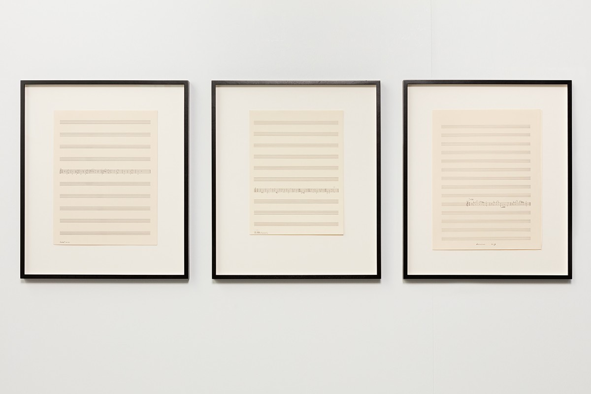 Ari Benjamin Meyers Three descending lines, 2015 Handwritten score on found paper 35,5 x 28 cm each (motif), 3 parts 50,5 x 43 x 2,8 cm each (framed), 3 parts