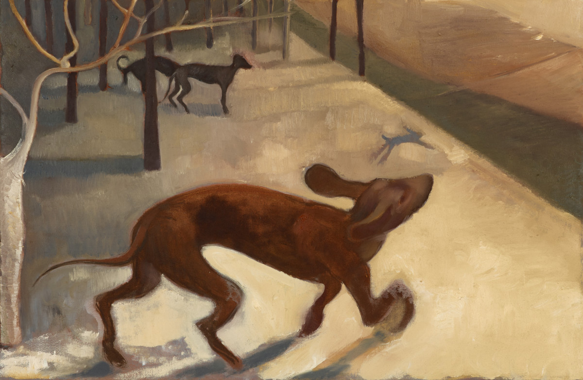 Sarah Buckner Here! here! (dogs), 2021 Oil on linen 60,2 x 92 x 2 cm (23 5/8 x 36 1/4 x 3/4 in) Titled and dated verso