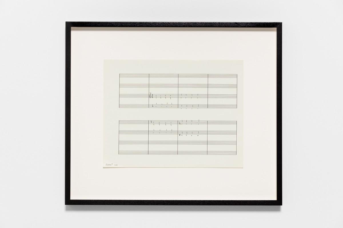 Ari Benjamin Meyers Aztec 44, 2015 Handwritten score on found paper 21,5 x 28 cm (motif) 36,5 x 43 x 2,8 cm (framed)