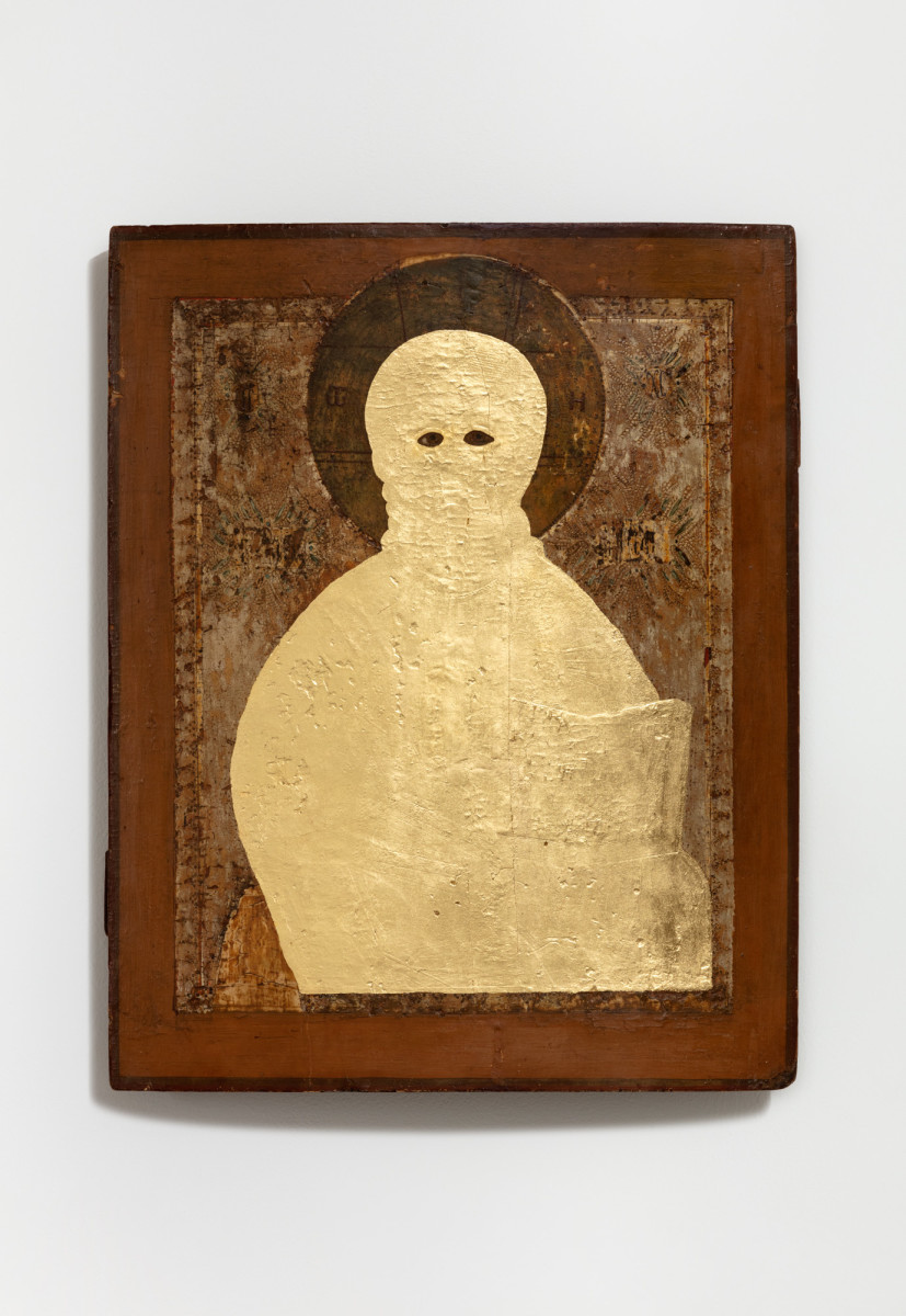 Etienne Chambaud Uncreature, 2021 Oil and gold leaf on wood panel 52 x 41 x 7 cm (20 1/2 x 16 1/8 x 2 3/4 in)