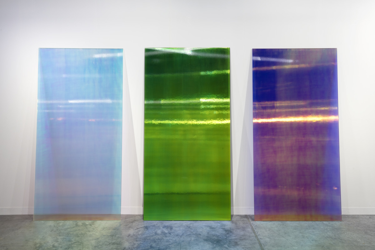 Ann Veronica Janssens CL2 Blue Shadow, CL9BK, Magma B, 2019 Annealed glass, PVC filter 230 x 115 x 1,2 cm (90 1/2 x 45 1/4 x 3/8 in) each (3 parts) Edition of 1