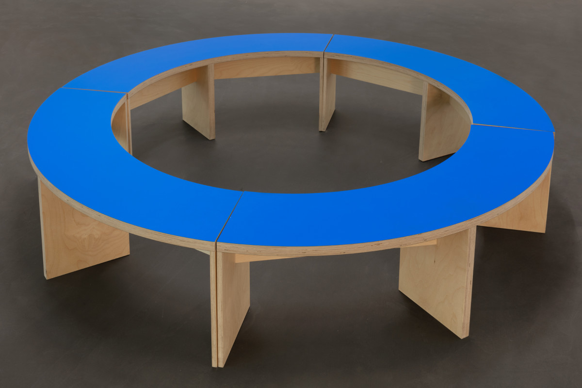 Liam Gillick Prototype Seating For A Revised Production Centre, 2005 Plywood, paint 50 x ø 200 cm (19 3/4 x ø 78 3/4 in)