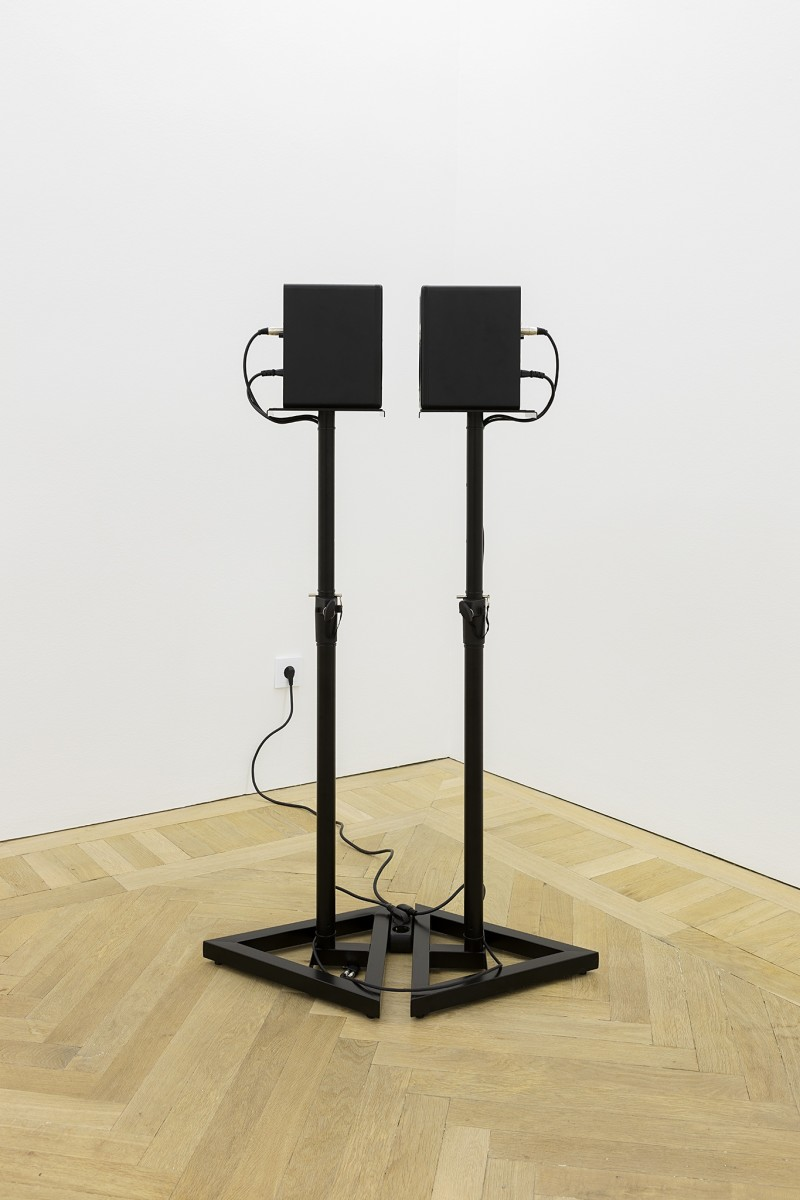 Ceal Floyer Mutual Admiration, 2015 Two speakers standing in front of each other on stands, connected to two iPod Nanos playing two looped audio tracks 142,5 x 39 x 44 cm (55 7/8 x 15 3/8 x 17 3/8 in) each speaker on stand 142,5 x 84 x 44 cm (55 7/8 x 33 1/8 x 17 3/8 in) (overall) Edition of 3