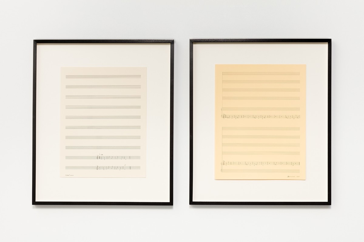 Ari Benjamin Meyers SCM 102/201, 2015 Handwritten score on found paper 35,7 x 28 cm each (motif), 2 parts 51,3 x 43,6 x 2,8 cm each (framed), 2 parts