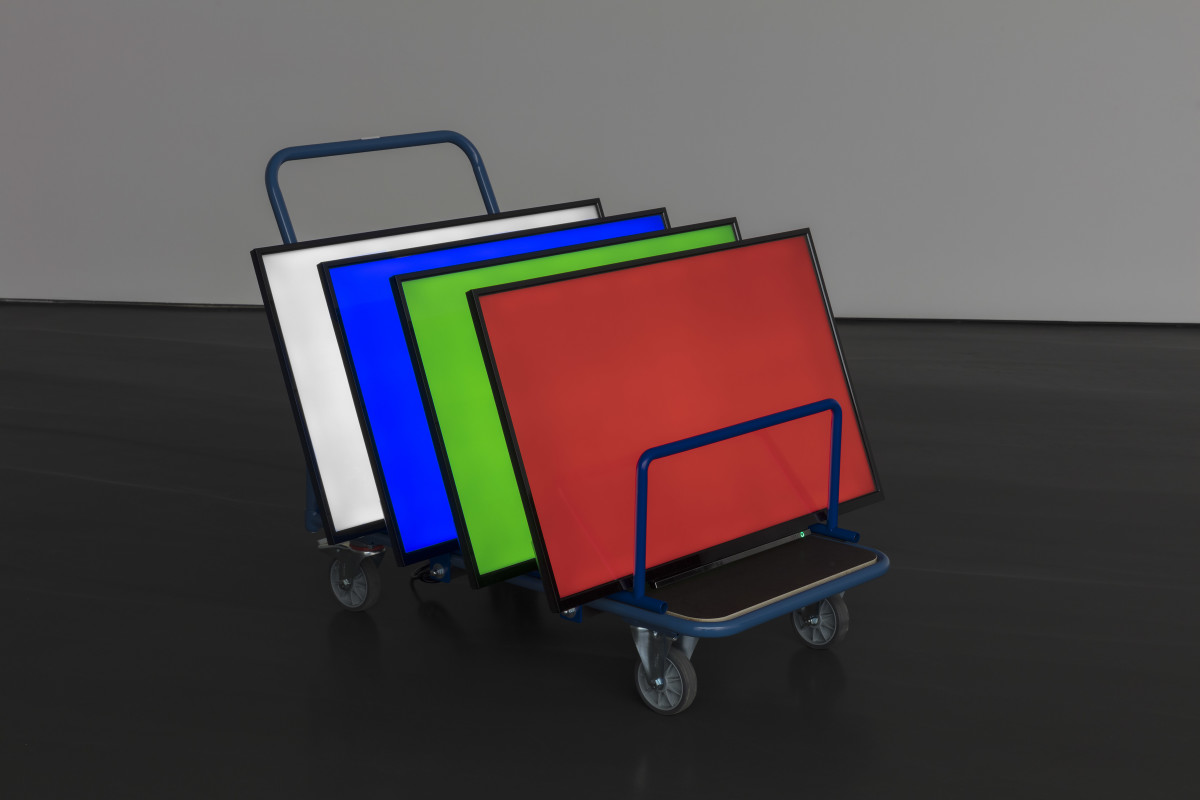 Tao Hui Screen as Display Body, 2019 4 LED screens, trolley 91 x 125 x 60 cm (35 7/8 x 49 1/4 x 23 5/8 in) Edition of 3