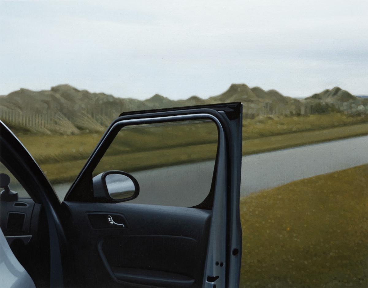 Andrew Grassie Car Door 2, 2020 Tempera on paper on board 14,8 x 18,8 cm (5 1/2 x 7 1/8 in) (image) 31,1 x 35,2 x 3 cm (12 1/4 x 13 3/4 x 1 1/8 in) (framed)