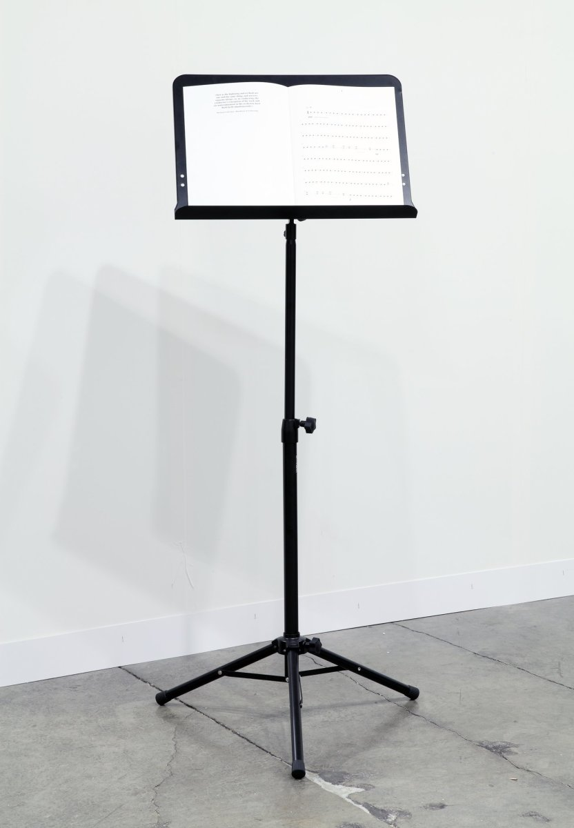 Ari Benjamin Meyers The Lightning and its Flash (Solo for Conductor), 2011 Digital print on natural paper, thread bound, music stand 22 pages, 32 x 45 cm Edition of 5