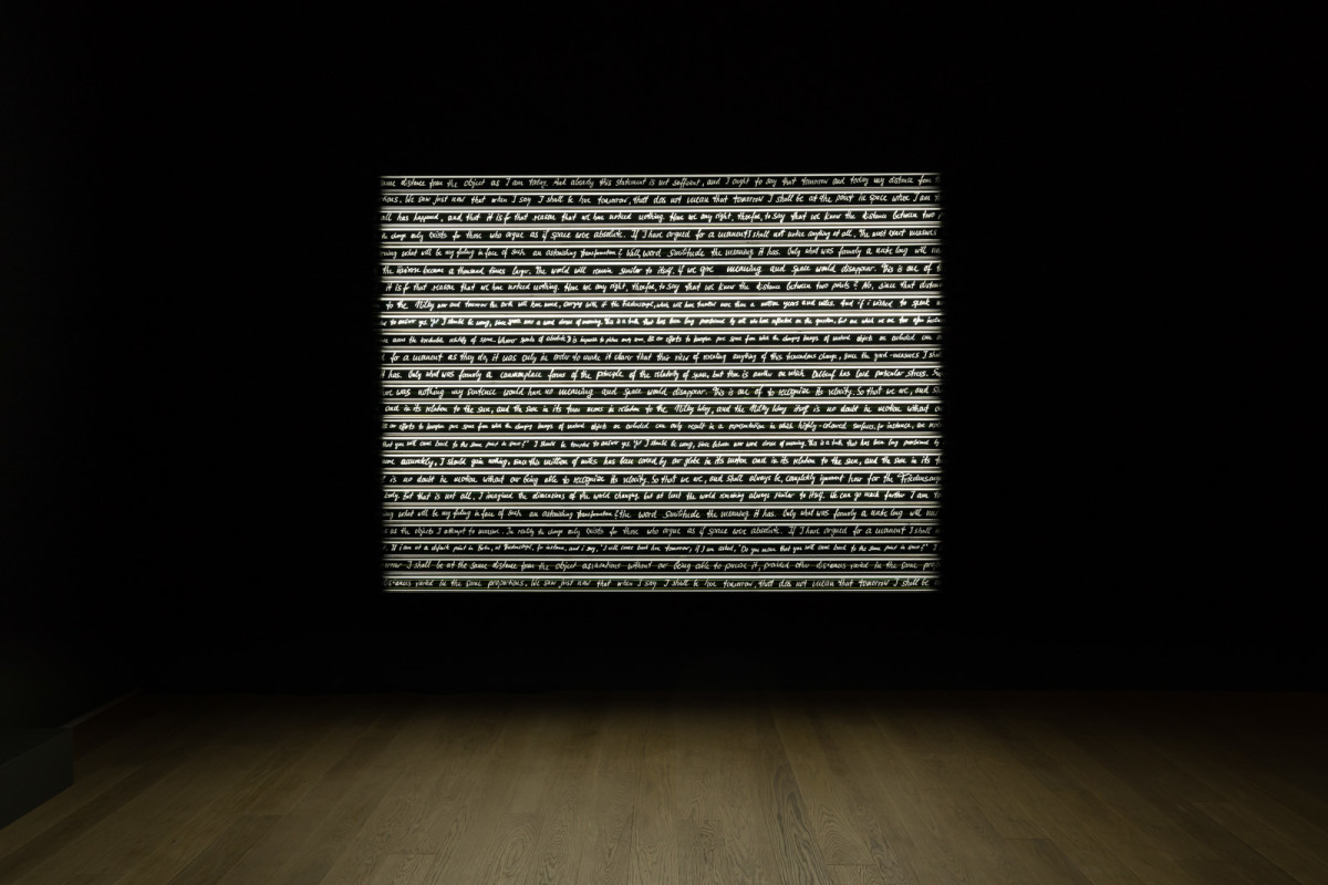 Rosa Barba Sight Enables Us to Appreciate Distance, 2013/2016 70 mm film, aluminium, LED, motors 180 x 260 x 17 cm (70 7/8 x 102 3/8 x 6 3/4 in) Edition of 1
