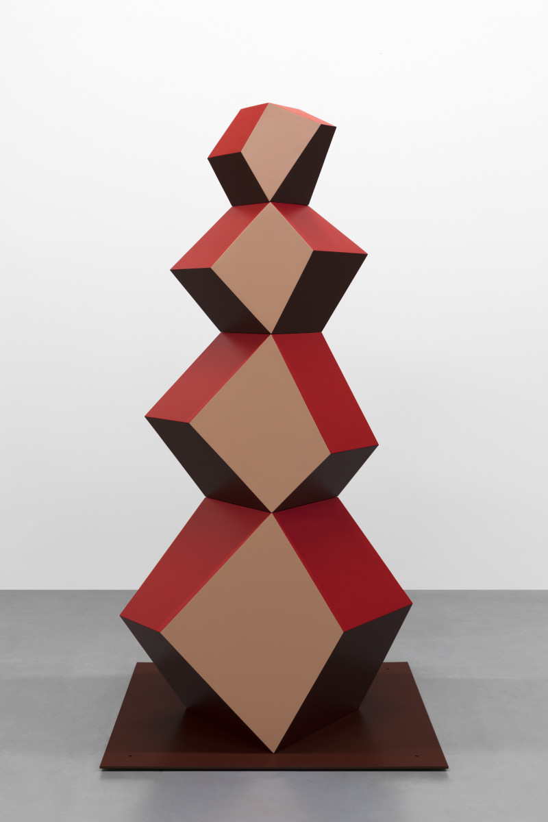 Angela Bulloch Heavy Metal Stack of Four: Red Monster, 2017 Powder-coated steel 240 x 110 x 90 cm 125 x 125 cm (base)