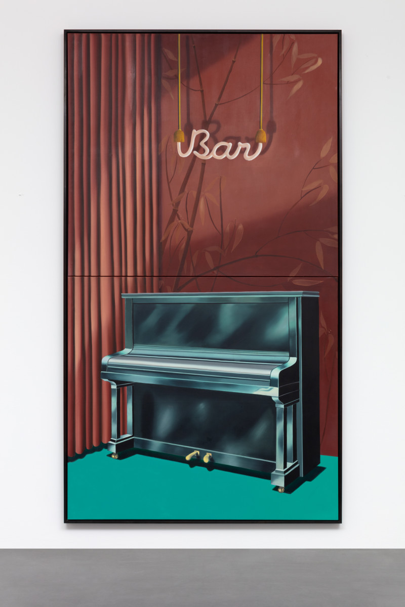 Almut Heise Bar, 1970 Oil on canvas (2 parts, foldable) 274 x 152,5 cm (107 7/8 x 59 7/8 in) (unframed) 277,2 x 156,7 x 7 cm (109 1/8 x 61 3/8 x 2 3/4 in) (framed)