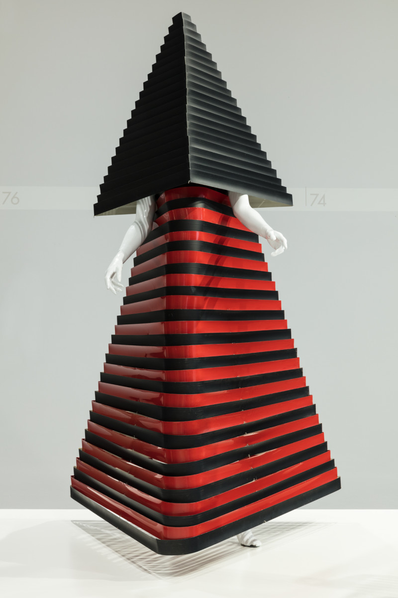 General Idea Massing Studies for The Pavillion #1 (V.B. Gowns), 1975 Red and black baked aluminum venetian blind slats with chains 193 x 113,5 x 115,5 cm (76 x 44 1/2 x 45 1/4 in)