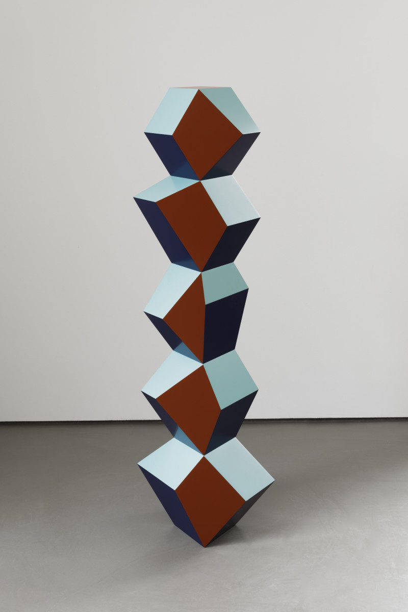 Angela Bulloch Five Form Stack: Blinky Copper, 2019 MDF, paint Approx. 150 x 50 x 30 cm