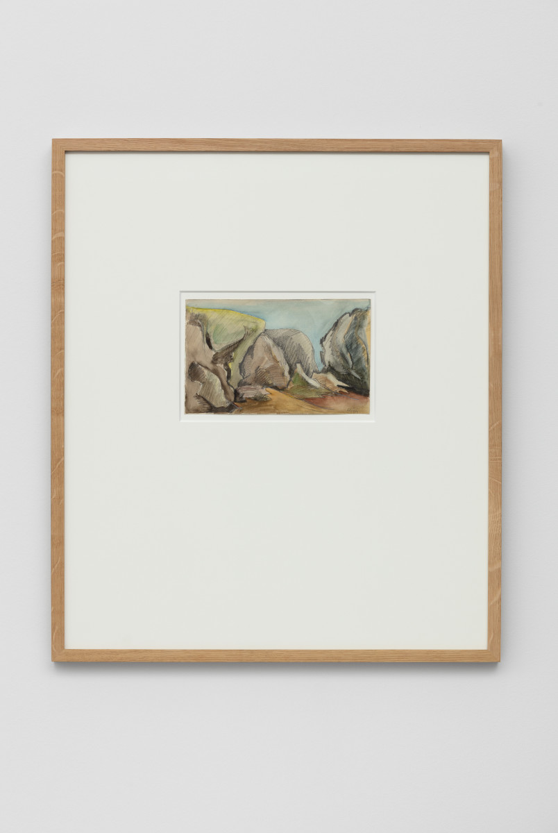 Hannah Höch Belle Île Felsenküste bei Donnant im Juni 1925, 1925 Watercolor and pencil 13 x 20 cm (5 1/8 x 7 7/8 in) (unframed) 26 x 33 x 1,3 cm (10 1/4 x 13 x 1/2 in) (framed) Signed lower right recto