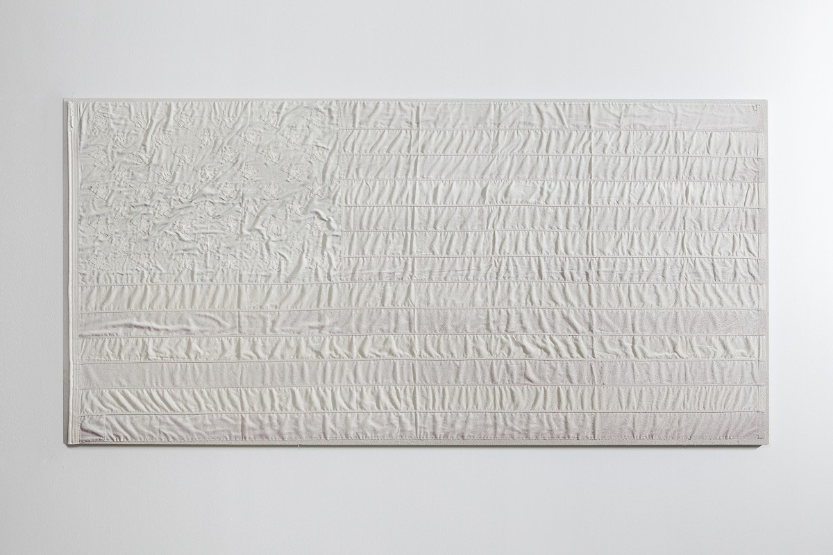 AA Bronson White Flag #8, 2015 Rabbit skin glue, Champagne chalk, raw honey on linen, cotton, cotton rope on linen 150 x 290 x 4,5 cm (59 1/8 x 114 1/8 x 1 5/8 in)