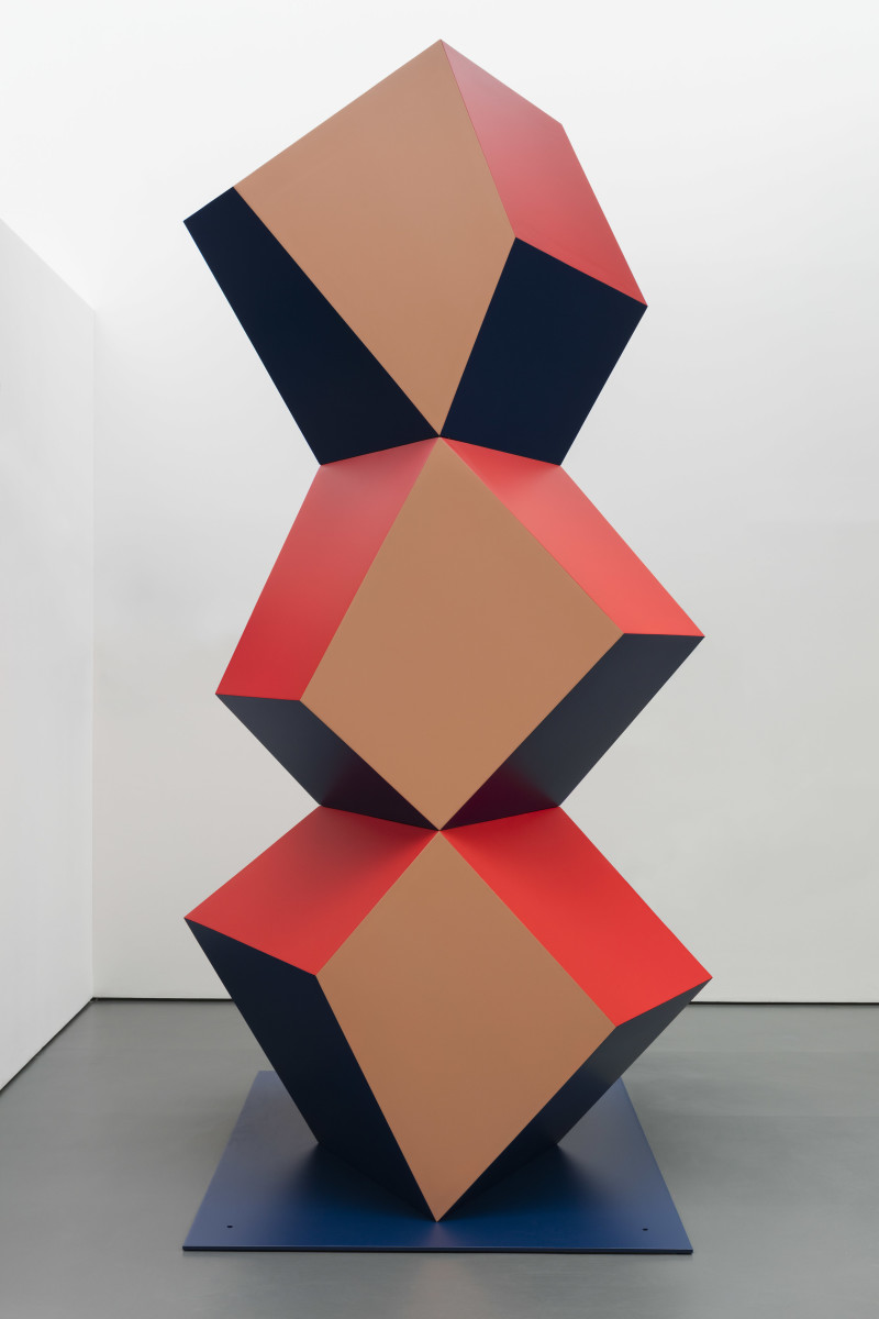 Angela Bulloch Heavy Metal Stack: Fat Beige Three, 2017 Powder-coated steel 300 x 166 x 100 cm 125 x 125 cm (base)