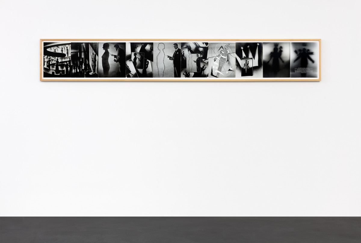 """General Idea Search for the Spirit, 1976 Gelatin silver prints mounted on mat supports 34,3 x 26,7 cm (13 3/8 x 10 1/4 in) each (10 parts) 34,3 x 266,7 cm (13 1/2 x 105 in) (overall) Each stamped and dated on verso """"General Idea Nov 1976"""""""